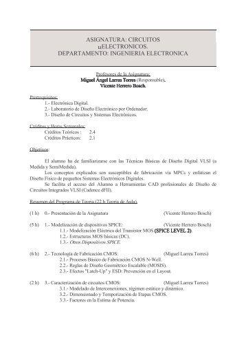 ASIGNATURA: CIRCUITOS μELECTRONICOS ... - PoliformaT - UPV