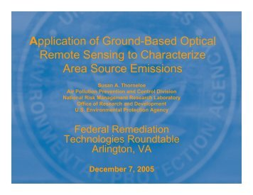 Ground-based Optical Remote Sensing to Characterize Area Source ...