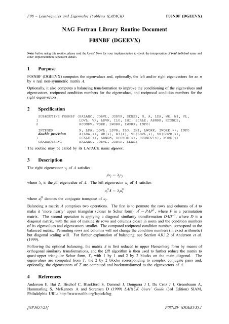 NAG Fortran Library Routine Document F08NBF (DGEEVX)