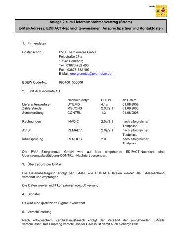 Anlage 2 zum Lieferantenrahmenvertrag (Strom) E-Mail-Adresse ...