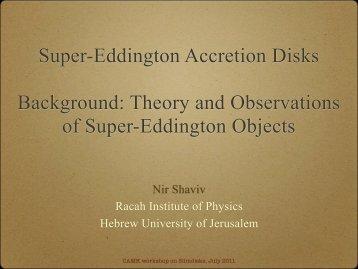 Super Eddington luminosities - Users' Pages