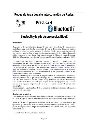Práctica 4. Bluetooth. Pila de protocolos BlueZ - PoliformaT - UPV