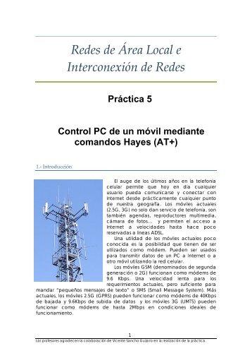 Práctica 5. Bluetooth-GSM - PoliformaT - UPV