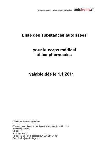 Liste des substances autorisées (pour les spécialistes) 2011