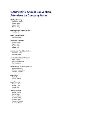 NASPD 2012 Annual Convention Attendees by Company Name
