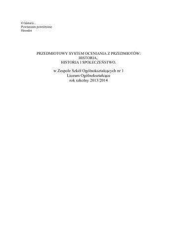 PRZEDMIOTOWY SYSTEM OCENIANIA Z HISTORII - ZSO nr 1