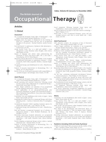 Occupational therapy on a Psychiatric ICU- under MOHOST