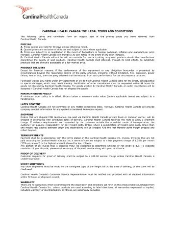Terms and Conditions - Cardinal Health Canada