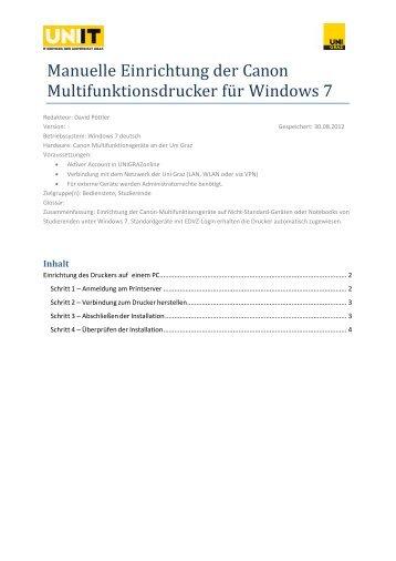 Manuelle Einrichtung der Canon Multifunktionsdrucker für Windows 7