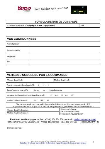 Accédez au formulaire du bon de commande - Yatoo
