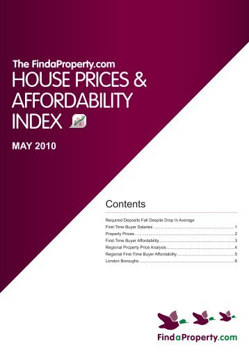Findaproperty.com House Prices and Affordability Index May 2010
