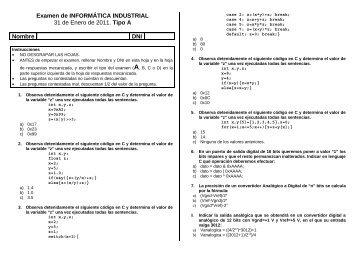 Examen de INFORMÁTICA INDUSTRIAL - PoliformaT