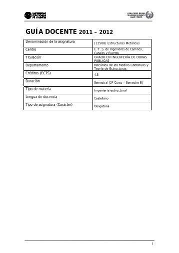 GUÍA DOCENTE 2011 – 2012 - PoliformaT - UPV
