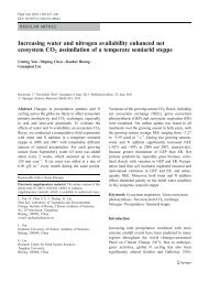 Increasing water and nitrogen availability enhanced net ecosystem ...