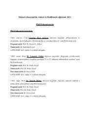 Doktori disszertációk védései és Habilitációs eljárások 2011. Ph.D ...