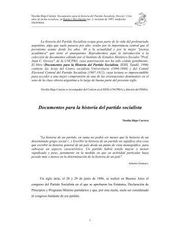Documentos para la historia del partido socialista