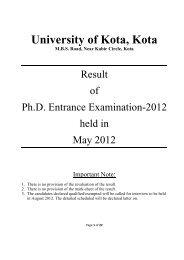 Result of Ph.D. Entrance Examination-2012 - University of Kota