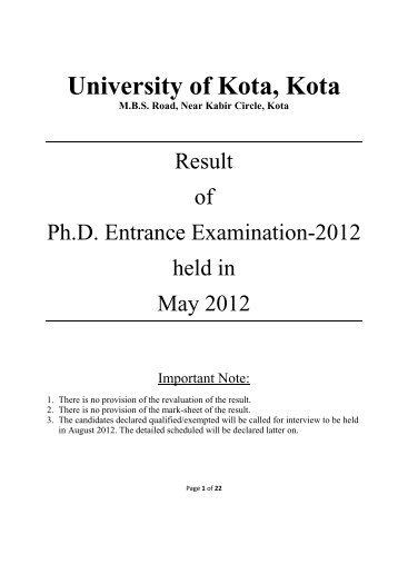 jiwaji university phd coursework result 2012