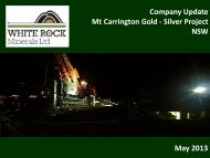 Investor Presentation May 2013 - White Rock Minerals