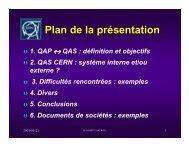 Plan de la présentation - CERN