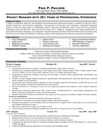 telecommunications technician front runner resume writing