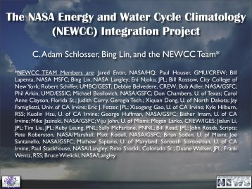 (NEWCC) Integration Project - NEWS (The NASA Energy and Water ...