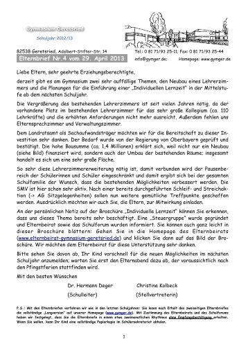 4. Elternrundbrief - Gymnasium Geretsried