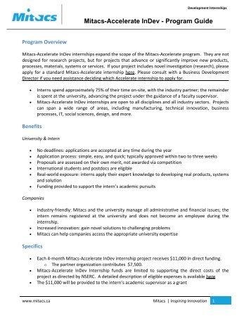 Mitacs-Accelerate InDev - Program Guide