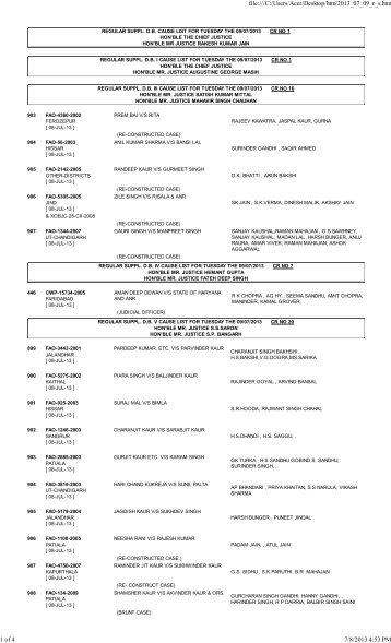 09/07/2013 - High Court of Punjab & Haryana, Chandigarh
