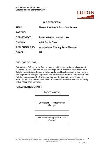 1 JOB DESCRIPTION TITLE: Manual Handling U0026 Back Care Adviser .  Event Manual Template