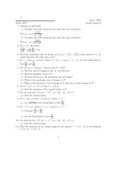 æ mar 1 ,2007 Math. 2673 sample Exam II 1. Evaluate as indicated ...