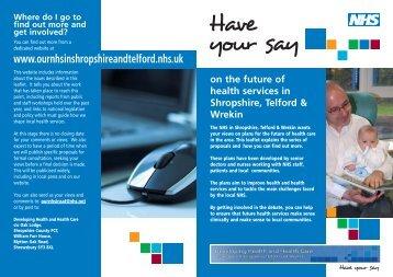 Have Your Say flyer - Royal Shrewsbury Hospitals NHS Trust