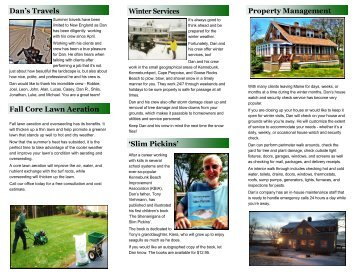 fall newsletter - Dan Viehmann Landscaping
