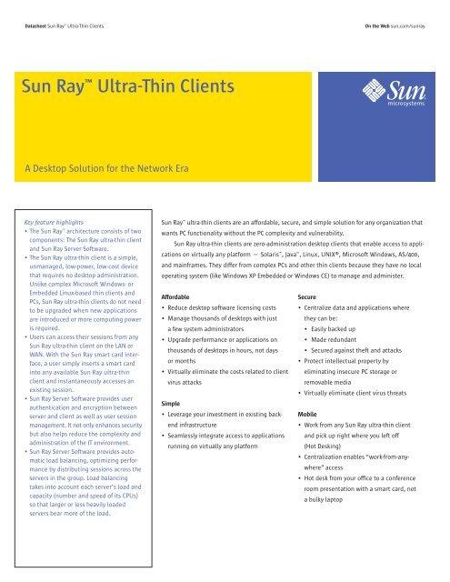 """Sun Rayâ""""¢ Ultra-Thin Clients - 4Sight Technology"""