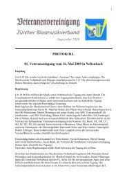 PROTOKOLL 81. Veteranentagung vom 16. Mai 2009 in Neftenbach