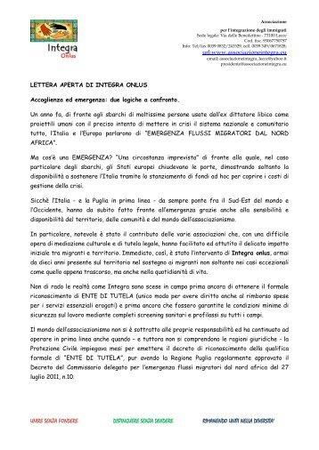 Lettera aperta Integra onlus - Centro Servizi Volontariato Salento