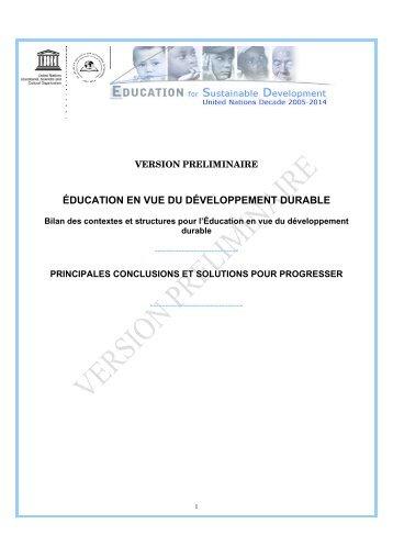 éducation en vue du développement durable - UNESCO World ...