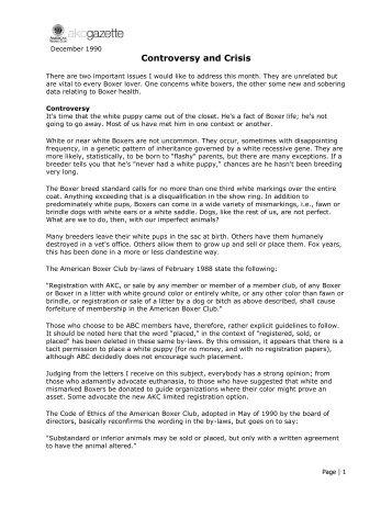 Controversy and Crisis - American Boxer Club