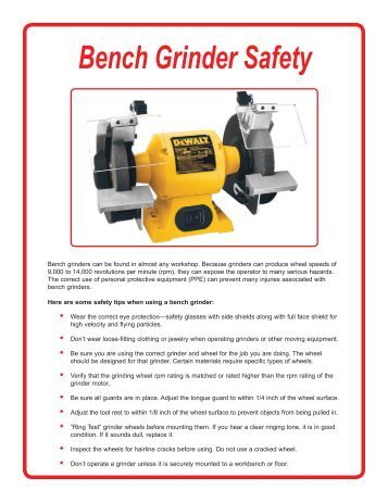 Bench And Pedestal Grinder Onguard 174 Safety Training