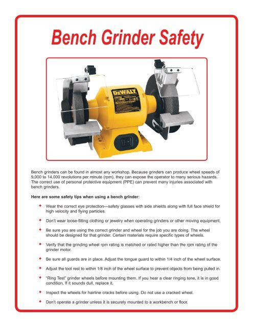 Bench Grinder Safety Pdf Acuity