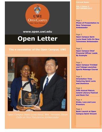 Open Letter September 2012. - Open Campus - Uwi.edu