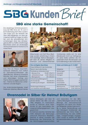 SBG eine starke Gemeinschaft! Ehrennadel in Silber für ... - Siedlungs