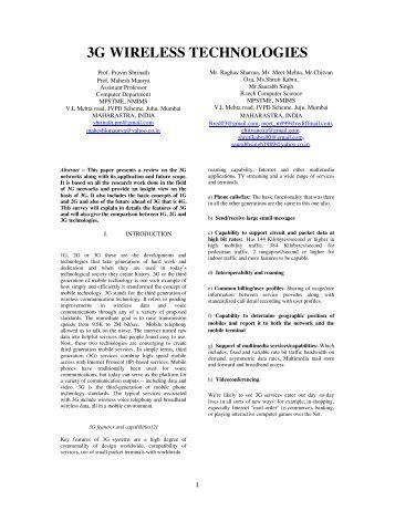 3G WIRELESS TECHNOLOGIES - NMIMS