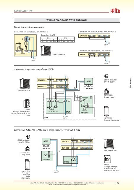 fan heater sw wiring diagrams sw12 and sw22 preset fan