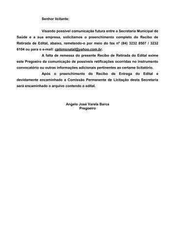 Senhor licitante: - Portal de Compras - Prefeitura Municipal de Natal