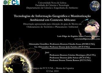 Tecnologias de Informação Geográfica e Monitorização Ambiental em
