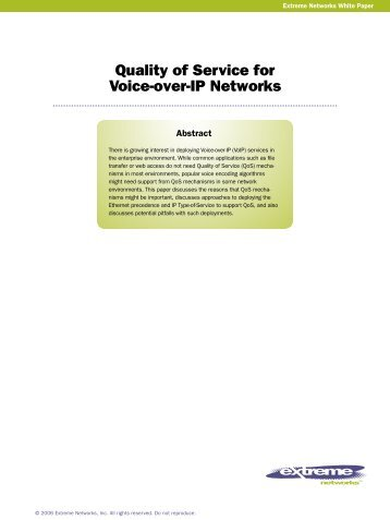Quality of Service for Voice-over-IP Networks - Extreme Networks