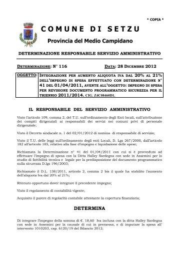 116 del 28.12.2012 _Integraz impegno ... - Comune di Setzu
