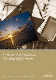 57 Resorts und Residenzen. Unzählige Möglichkeiten. - Hapim@g