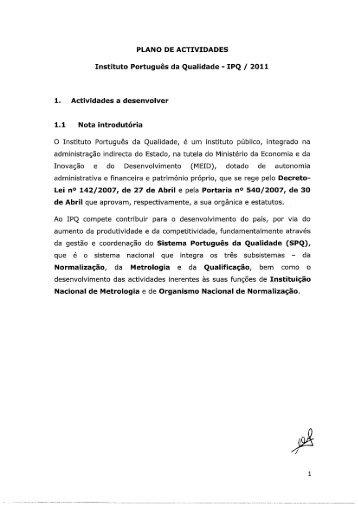 Plano de Atividades 2011 - IPQ
